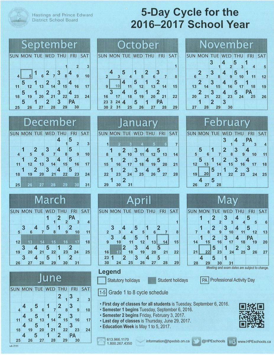 5 Day Cycle Calendar with PA days