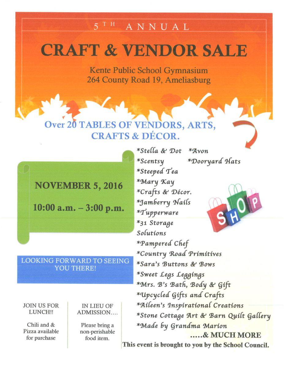 2016 Craft Sale Flyer